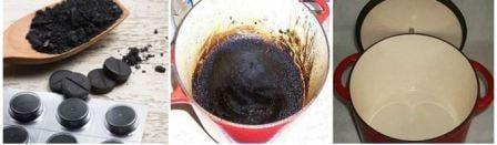Очистить эмалированную кастрюлю от желтого налета внутри