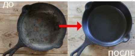 Как отчистить сковороду чугунную от многолетнего нагара