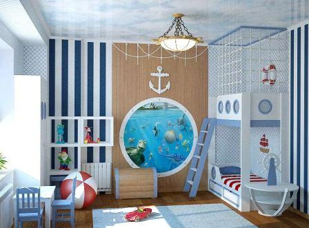 Как оформить детскую в морском стиле